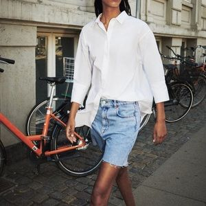 Zara White Poplin Oversized Collared Shirt Dress